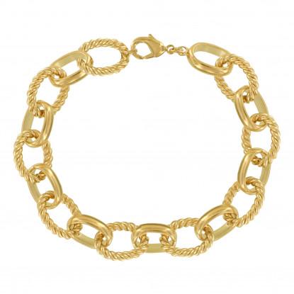 Bracelet Plaqué Or Grosse Mailles Ovales Lisses et Torsadées