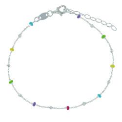 Bracelet Argent Perles Émaillées Arc En Ciel et Perles Argent