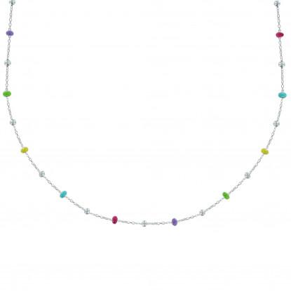 Collier Argent Perles Émaillées Arc En Ciel et Perles Argent