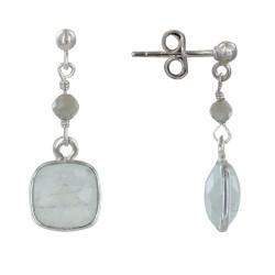 Boucles d'Oreilles Argent Perle et Pavé Pierre de Lune Facetté