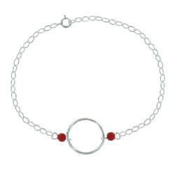 Bracelet Argent Cercle et Deux Perles en Résine
