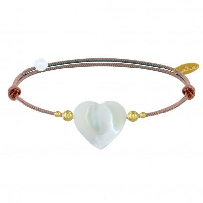 Bracelet Lien Coeur de Maman Nacre et Perles en Or - Classics