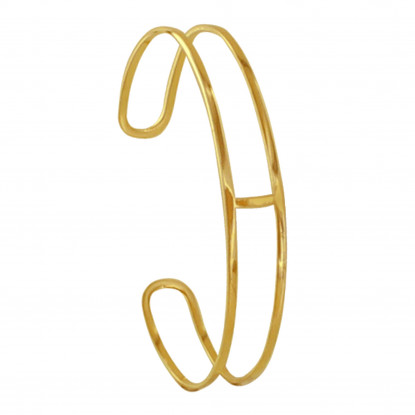 Bracelet Plaqué Or Demi Jonc Une Barre