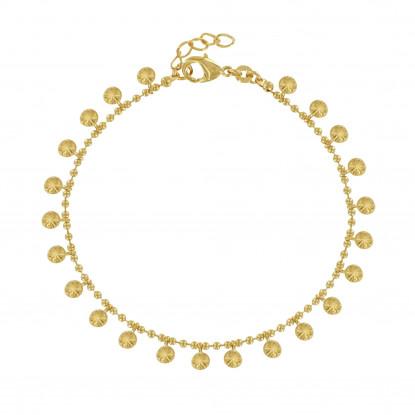 Bracelet Billes Plaqué Or Médailles Soleil
