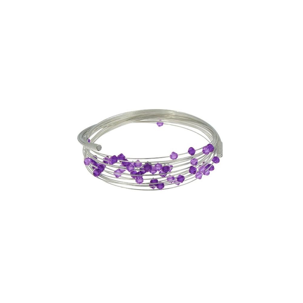 bracelet multifils argent perles de cristal de swarovski violet. Black Bedroom Furniture Sets. Home Design Ideas