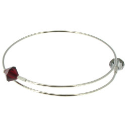 Bracelet Argent 2 Perles de Swarovski Rouge et Grise