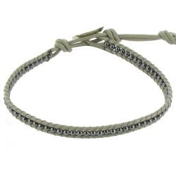 Bracelet en Cuir Gris et Perles Hématite Fermoir Argent