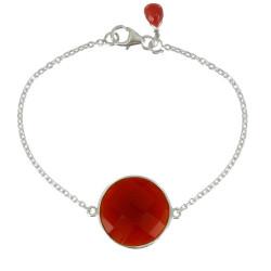 Bracelet Argent Pavé Faceté d'Onyx Rouge