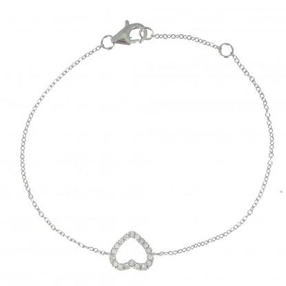 Bracelet Coeur de Strass Ajouré Argent
