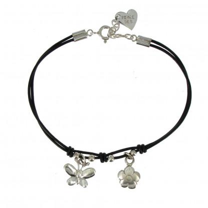 Bracelet Fleur et Papillon Argent Fil Cuir Noir