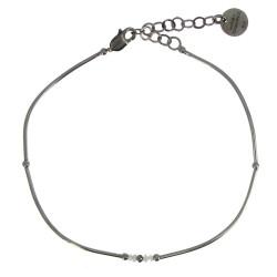 Bracelet Argent 4 Diamants Blancs et 1 Diamant Noir