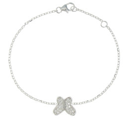 Bracelet Papillon Argenté et ses Strass