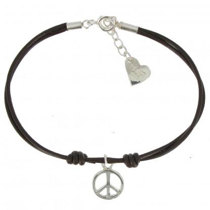 Bracelet Peace and Love Argent Lien Cuir Marron Foncé