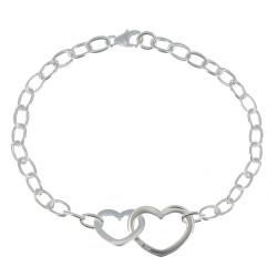 Bracelet Argent Double Coeurs