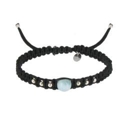 Bracelet Shamballa Lien Tressé Noir et Perle de Larimar