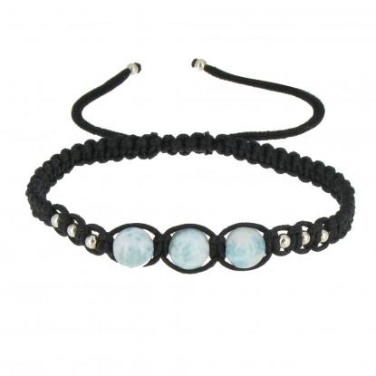 Bracelet Shamballa Tressé Noir 3 Perles de Larimar