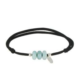 Bracelet Lien Noir 3 Anneaux de Larimar et Deux Perles Argent