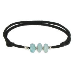 Bracelet Lien Noir 3 Rondelles de Larimar et d'Argent