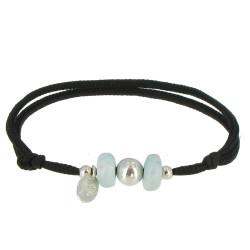 Bracelet Lien Noir 2 Anneaux de Larimar et Perle d'Argent