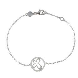 Bracelet Argent Papillon Lune et Strass