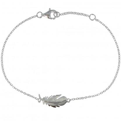 Bracelet Argent Rhodié Plume d'Oiseau
