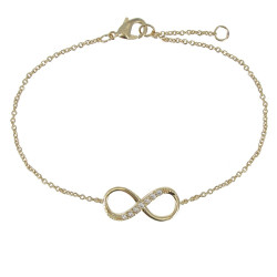 Bracelet Plaqué Or Infini et Strass
