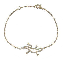 Bracelet Plaqué Or Salamandre et Strass