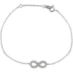 Bracelet Argent Rhodié Infini et Strass Cristal