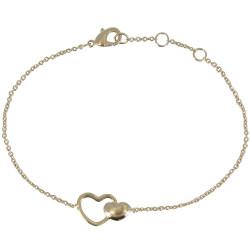 Bracelet Plaqué Or Deux Coeurs
