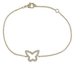 Bracelet Plaqué Or Papillon entouré de Strass