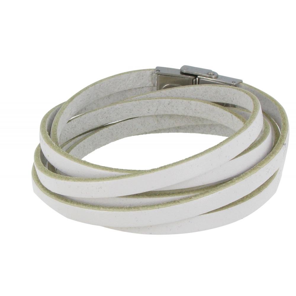 bracelet cuir blanc fermoir acier inoxydable. Black Bedroom Furniture Sets. Home Design Ideas