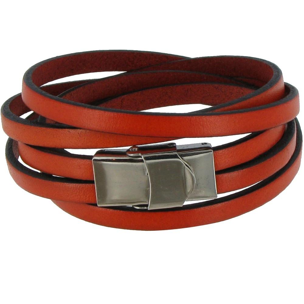 bracelet cuir orange fermoir acier inoxydable. Black Bedroom Furniture Sets. Home Design Ideas