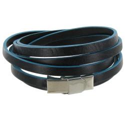Bracelet Cuir Bicolore Noir et Bleu Fermoir Acier Inoxydable