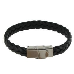 Bracelet Homme Cuir Noir Tréssé Plat Fermoir Acier Inoxydable