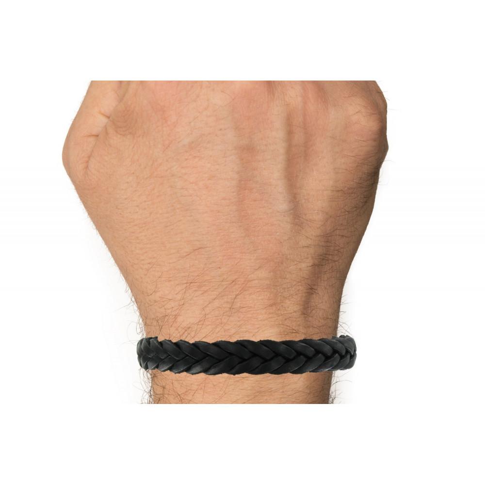 03b37ae7b81 Bracelet Homme Cuir Noir Tréssé Plat Fermoir Acier Inoxydable