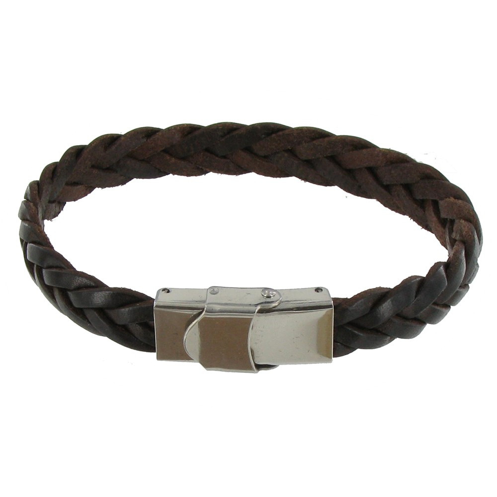 bracelet homme cuir marron fonc tr ss plat fermoir acier inoxydable. Black Bedroom Furniture Sets. Home Design Ideas