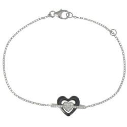 Bracelet Argent Rhodié Coeur Céramique Noire et Strass