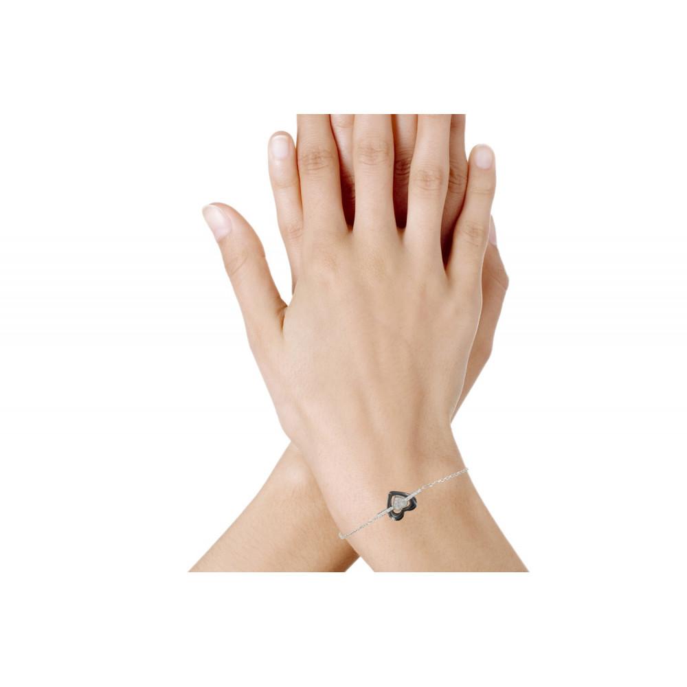 bracelet argent ceramique noir
