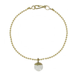 Bracelet Laiton Petite Bulle Pâte de Verre Cristal