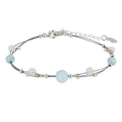 Bracelet Câble Perles Larimar et Cristal de Roche