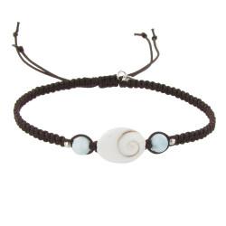 Bracelet Lien Tréssé Oeil de Ste Lucie et Perles de Larimar