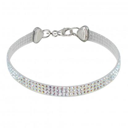 Bracelet Argent Rhodié Silicone et Strass - Classics