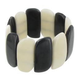 Bracelet Elastique Tagua Noire et Blanche