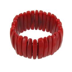Bracelet Lamelles de Tagua Rouge
