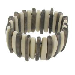 Bracelet Lamelles de Tagua Noire et Blanche