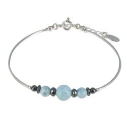 Bracelet Tubes Argent Perles d'Hématites et de Larimar