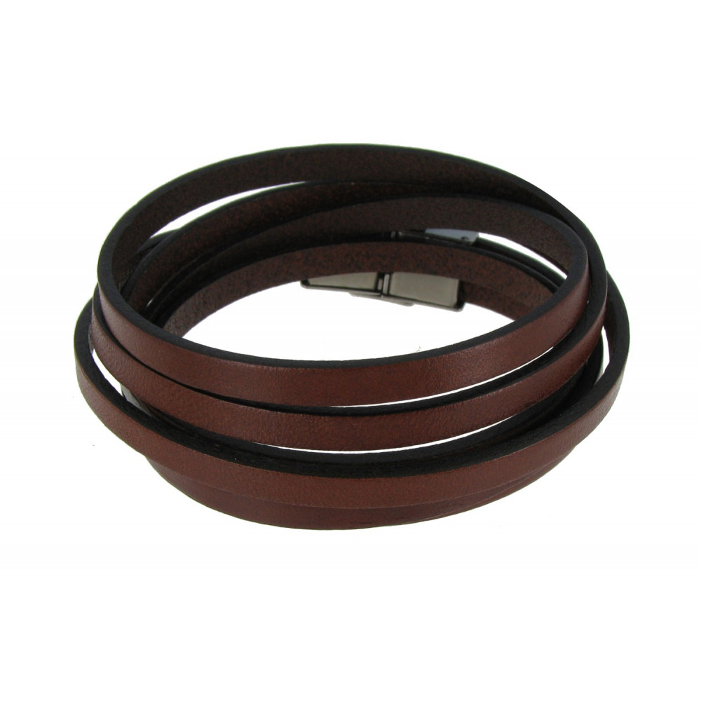 bracelet cuir acajou fermoir acier inoxydable. Black Bedroom Furniture Sets. Home Design Ideas