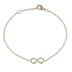 Bracelet Plaqué Or Infini et Strass - Petit Modèle