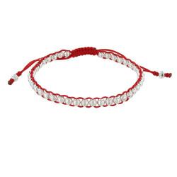 Bracelet Lien Rouge et Perles Argent