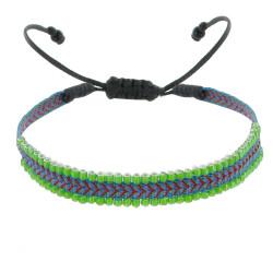 Bracelet Tissé Bleu et Vert Perles Verte